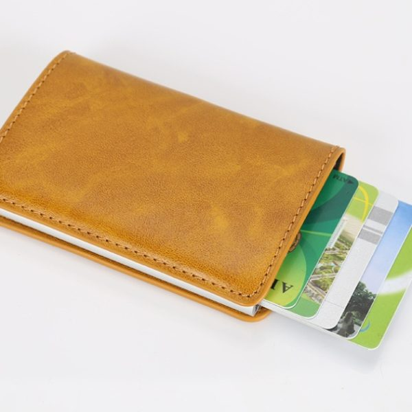 RFID Aluminium Alloy Credit Card Holder PU Leather Wallet Automatic Pop Up Case